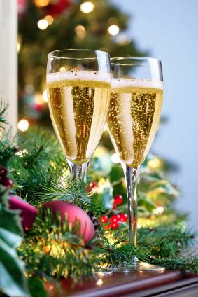 Två glas med Champagne på nyår