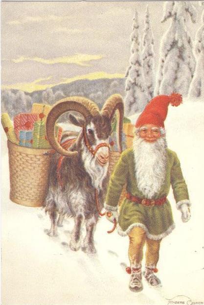 Tomtenisse med julbock (Julkort av Anders Olsson)