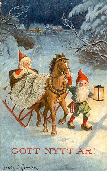 Tomtenissar med häst och släde (Julkort av Jenny Nyström)