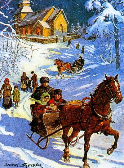 På väg från julottan (Julkort av Jenny Nyström)