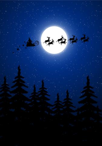 Jultomten med släden och renarna