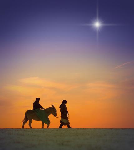 Maria och Josef på väg till Betlehem
