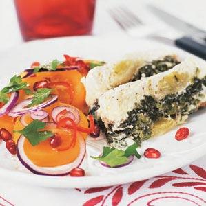Spenat- och purjopaté med fräsch tomatsallad