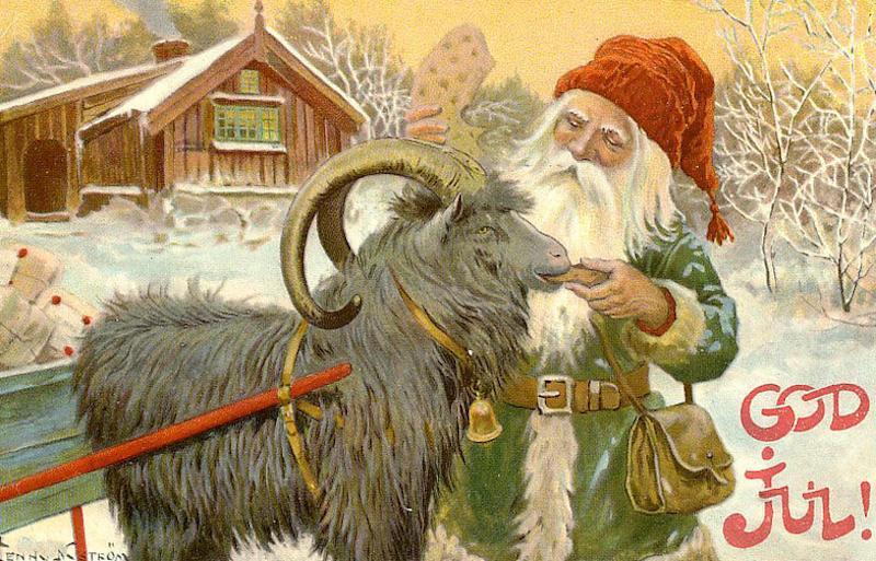 Tomte med julbock (Julkort av Jenny Nyström)